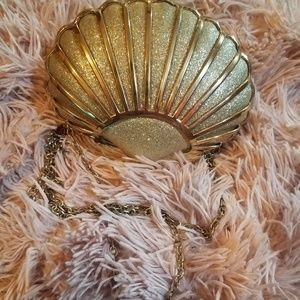 Shimmer clutch sea shell bag
